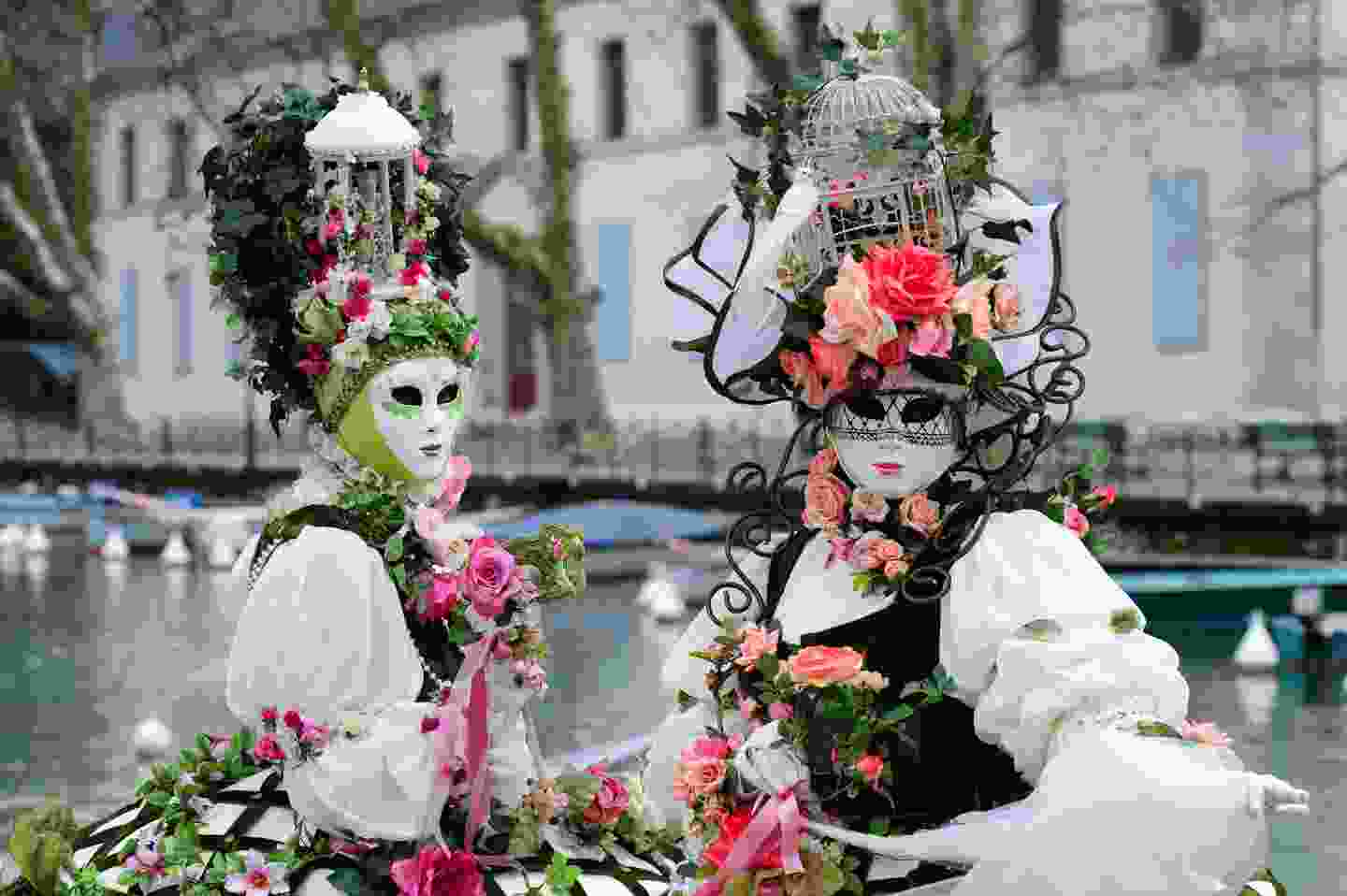 Traditional carnival mask at Annecy Carnival, France (Shutterstock)