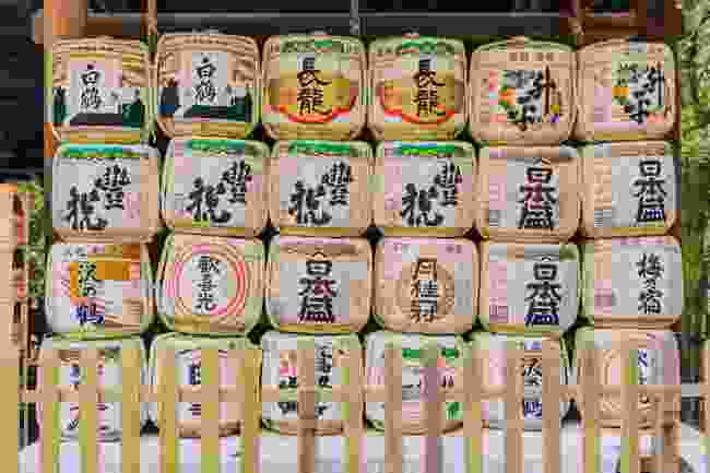 Traditional sake and nihonshu barrels in Nara, Japan (Shutterstock)