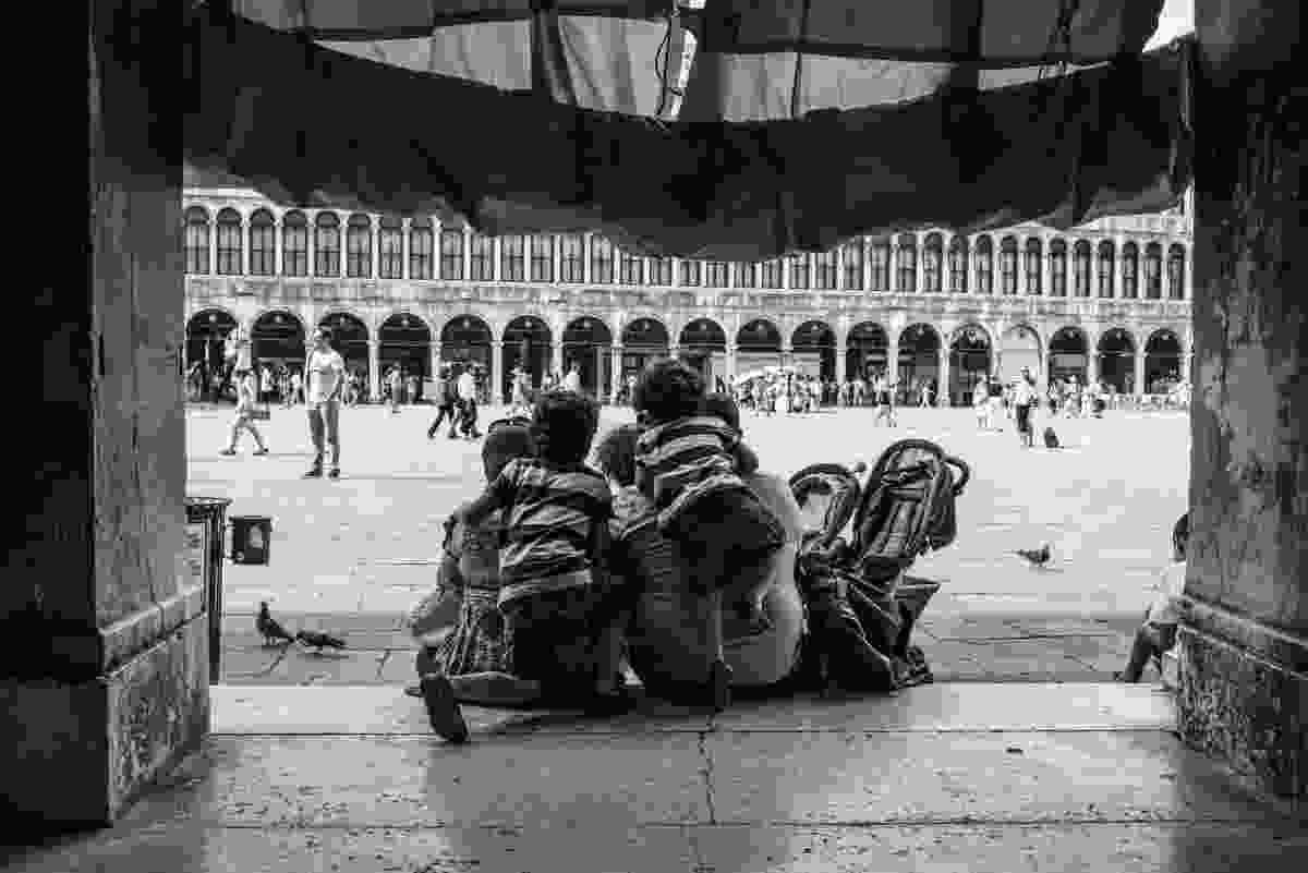 Family in St Mark's Square, Venice, Italy (Derren Brown)