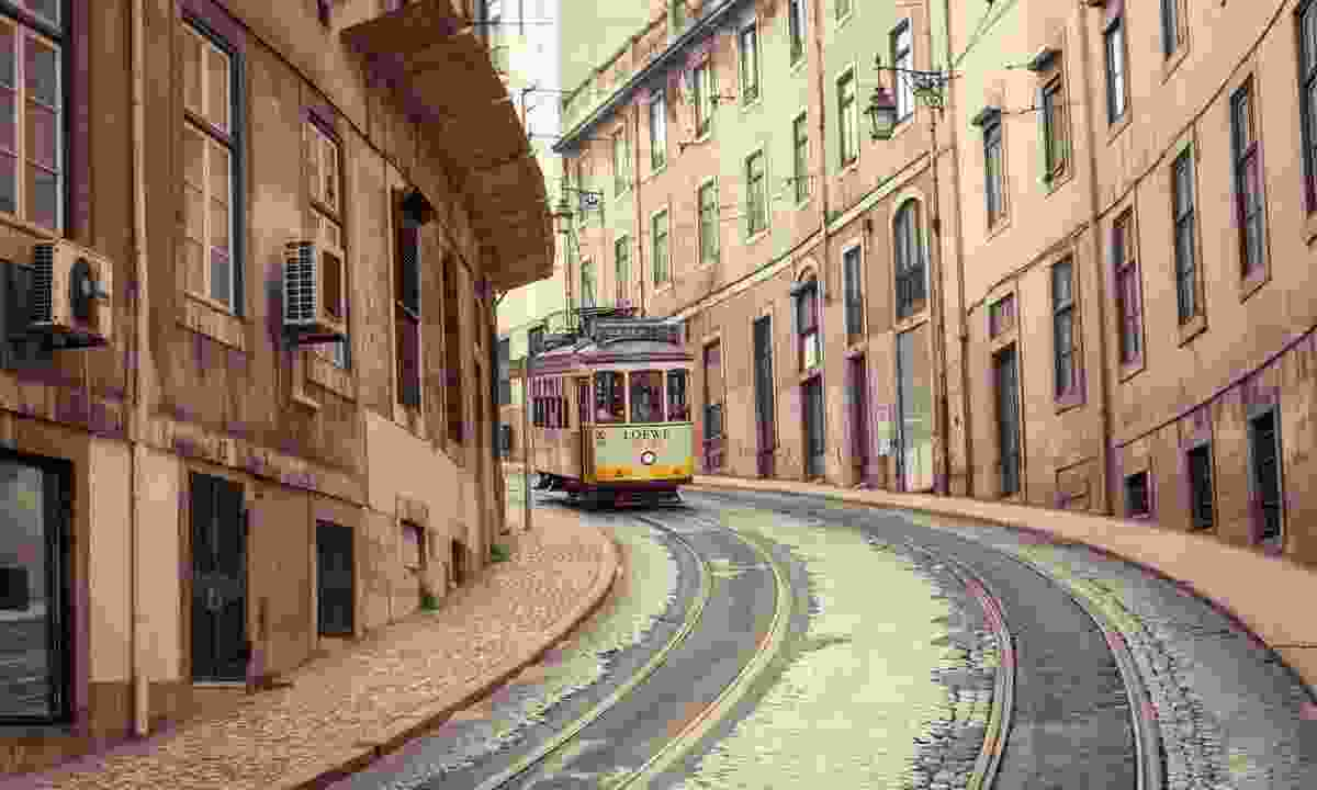 Tram 28 rattling through Lisbon (Dreamstime)