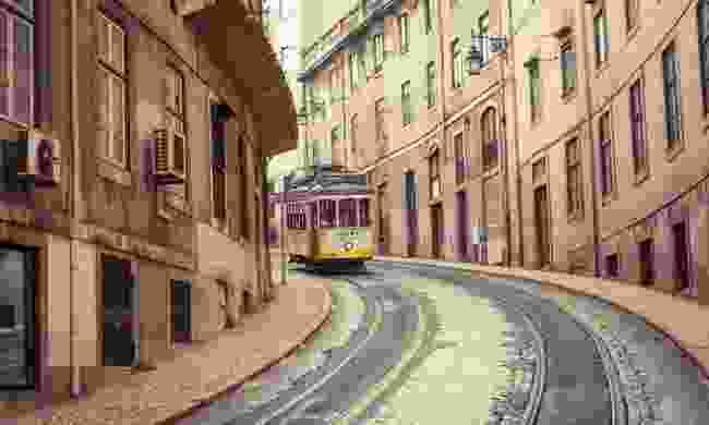 Tram 28 rattling through Lisbon (Dreamstime)