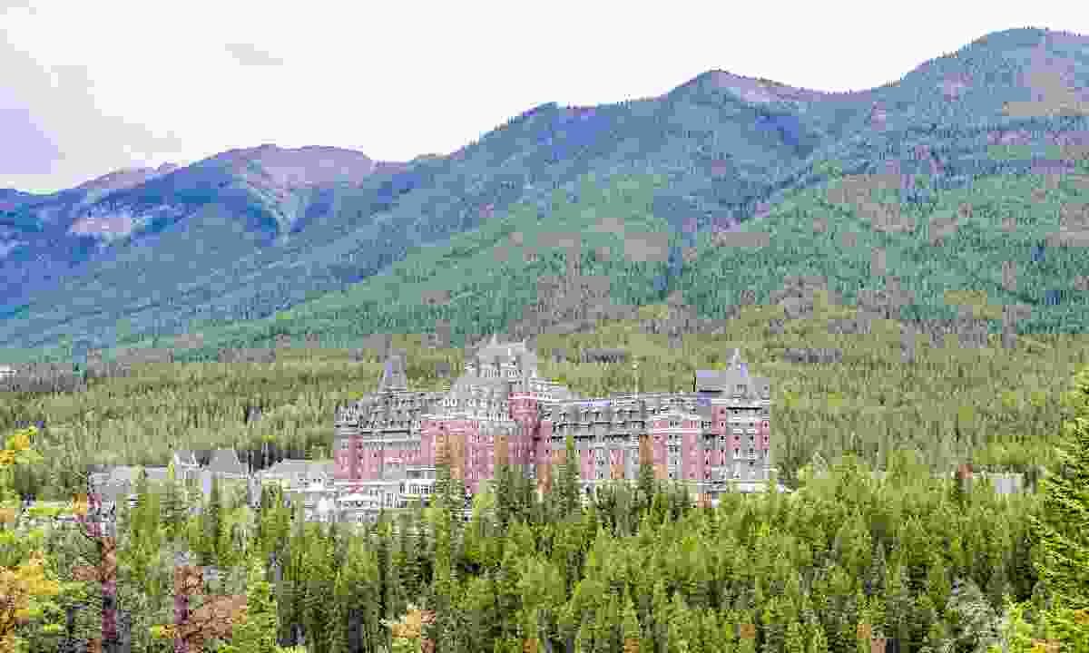 View of the Banff Springs hotel building in Canada's Rocky Mountains (Dreamstime)