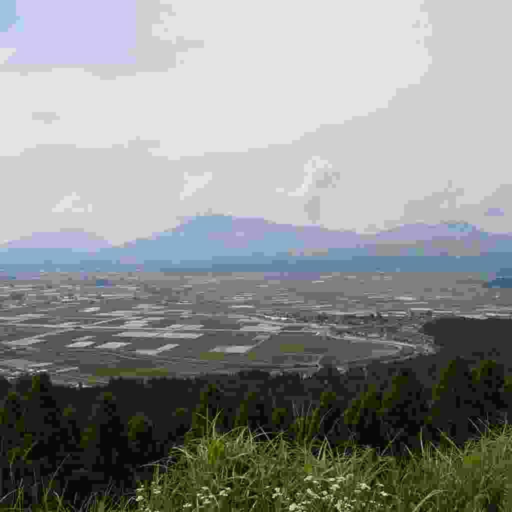 A distant view of Mount Nakadake