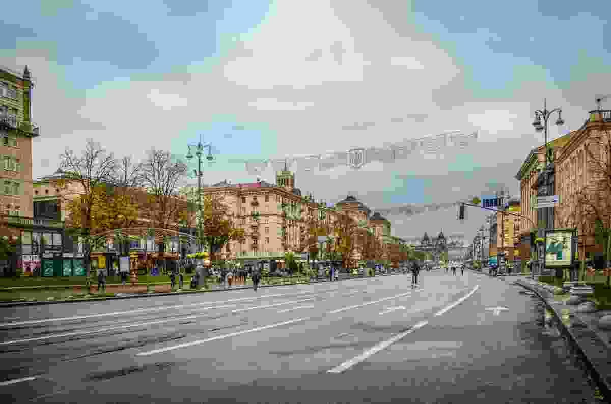 Khreschatyk in the rain, Kiev (Dreamstime)