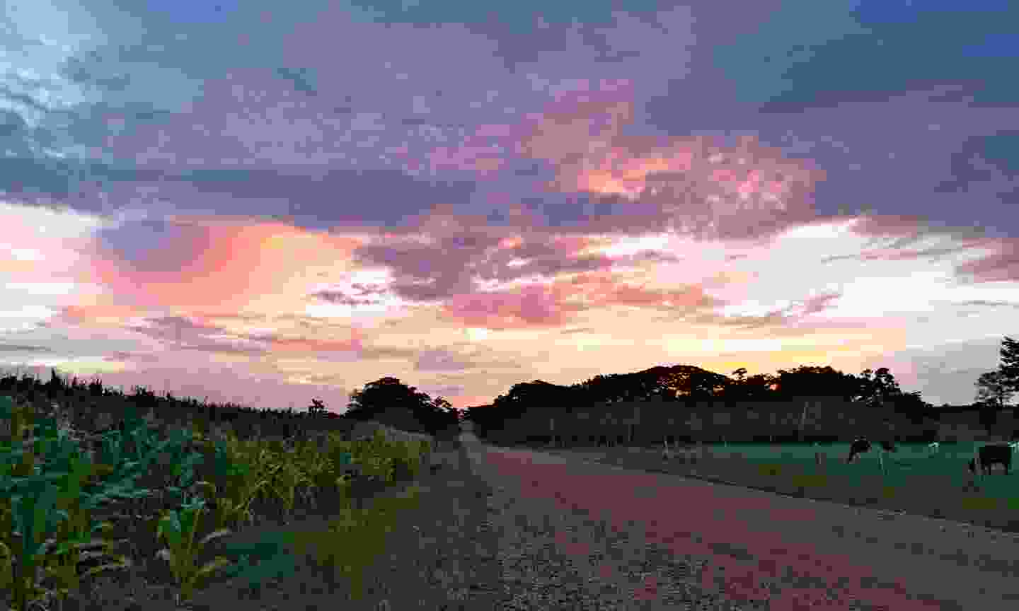 A beautiful sunset over a country back road in Belize (Shutterstock)