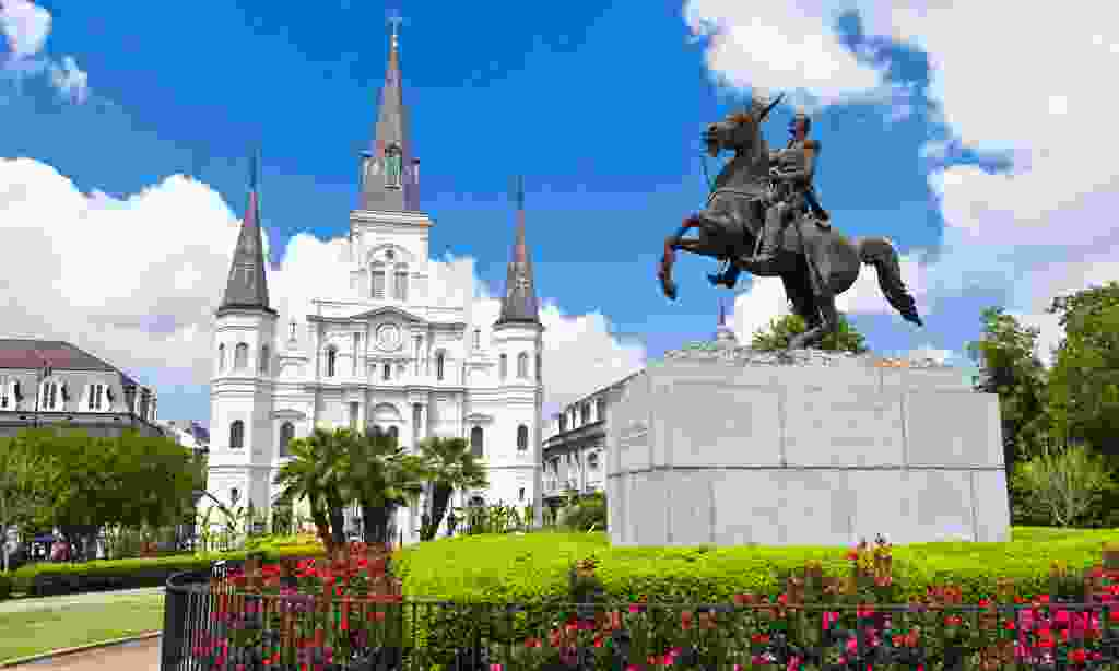 Saint Louis Cathedral and a statue of Andrew Jackson in Jackson Square, New Orleans (Shutterstock)