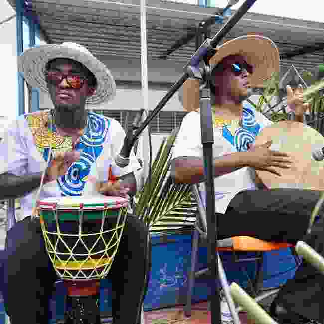 Traditional Creole drummers during the Festival Kreol (Peter Moore)