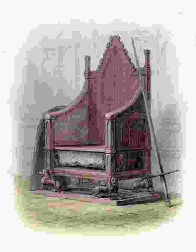 Stone of Destiny, set in the Coronation Throne (Public Domain)