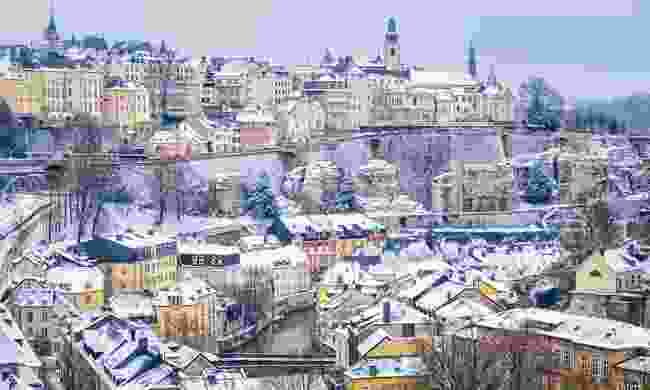 Luxembourg city snow covered at winter (Dreamstime)