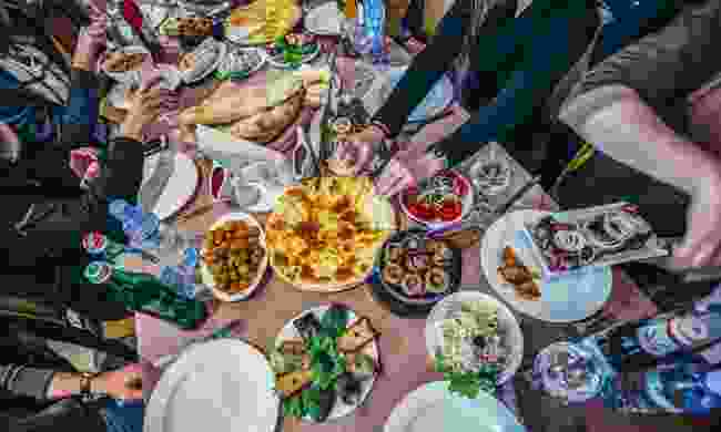 Table full of traditional Georgian food (Shutterstock)