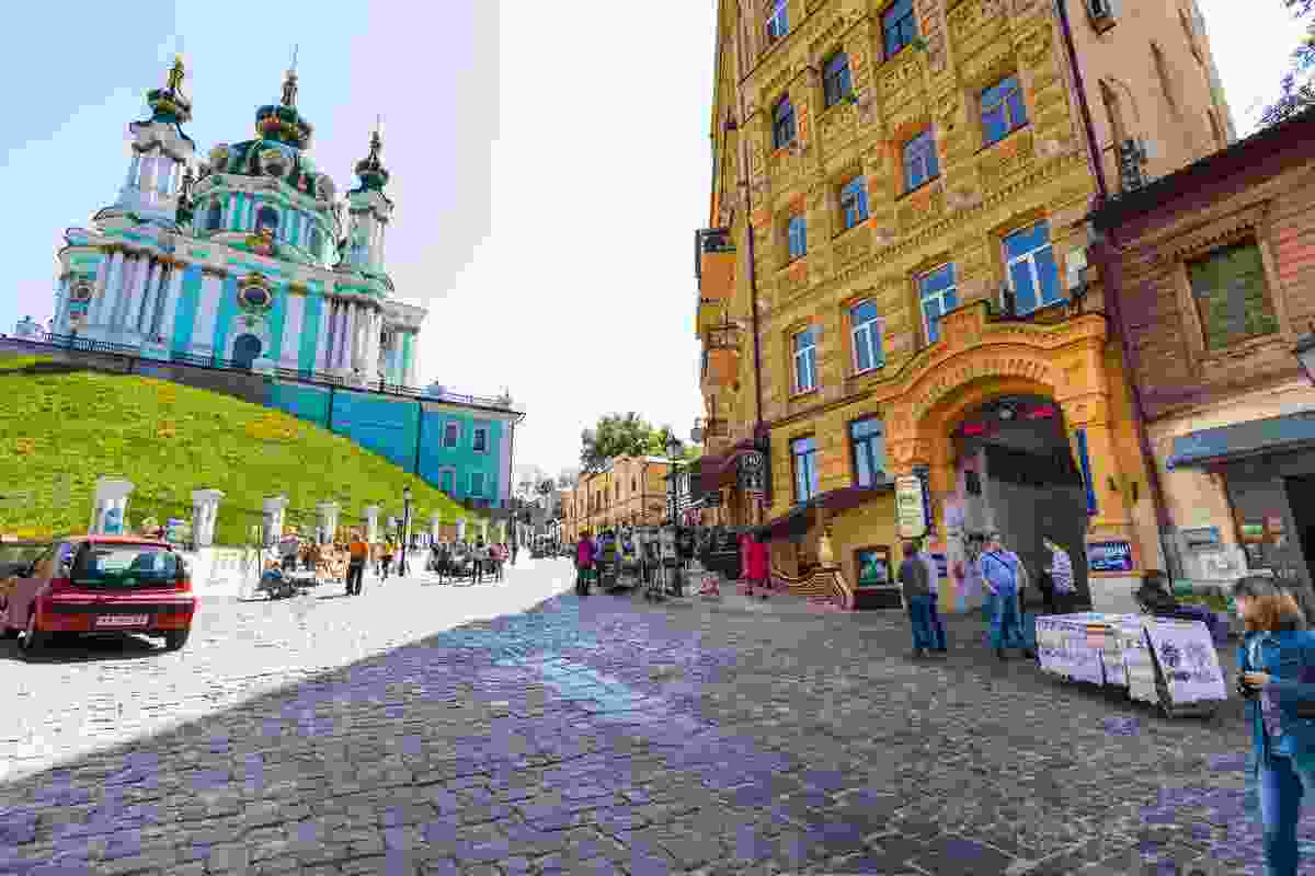 Andriyivskyy Descent, approaching St Andrew's Church, Kiev (Dreamstime)