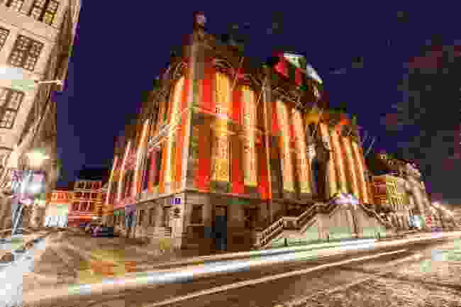 Liège City Hall lit up at Christmas time (Shutterstock)
