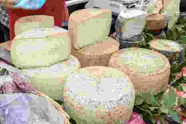 Pecorino for sale at a market in Sardinia (Shutterstock)