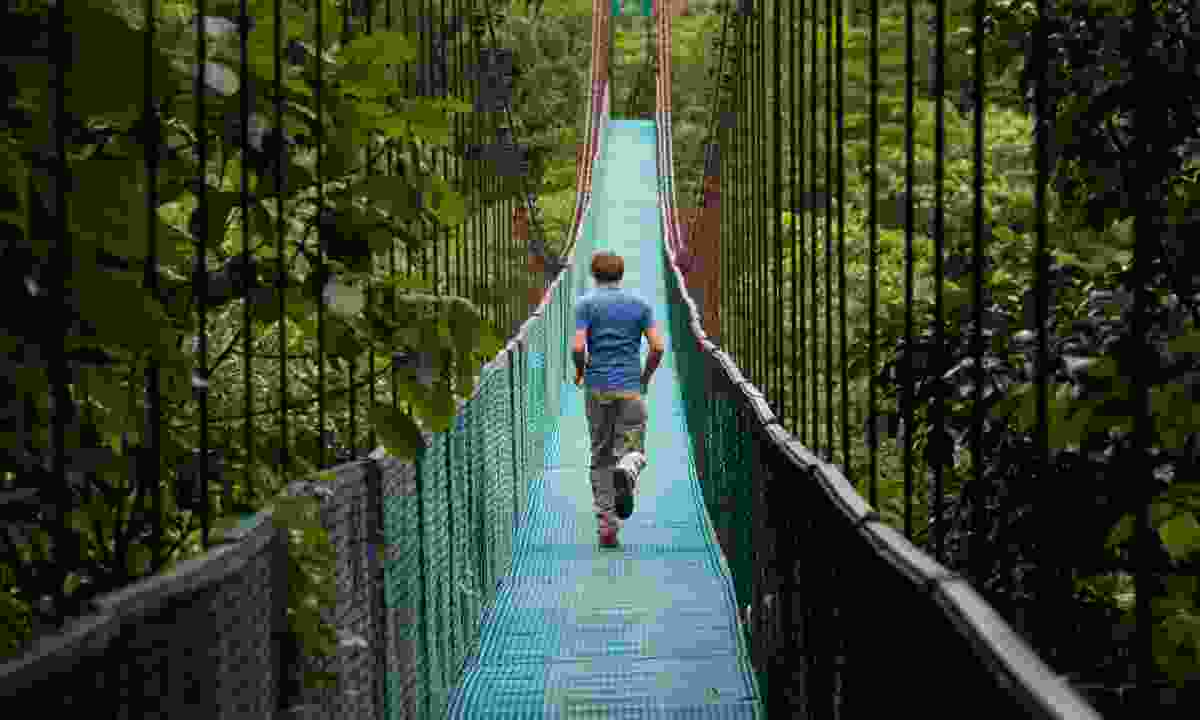 Crossing a jungle bridge in Costa Rica (Dreamstime)
