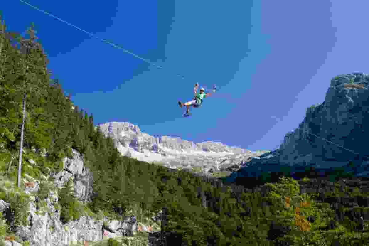 Ziplining in Bovec (Slovenian Tourist Board)
