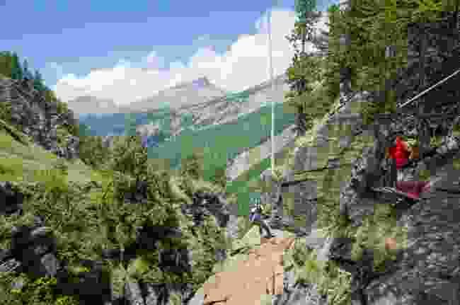 The Gorge Alpine via ferrata takes around three hours to complete (Jemma Maryniak)