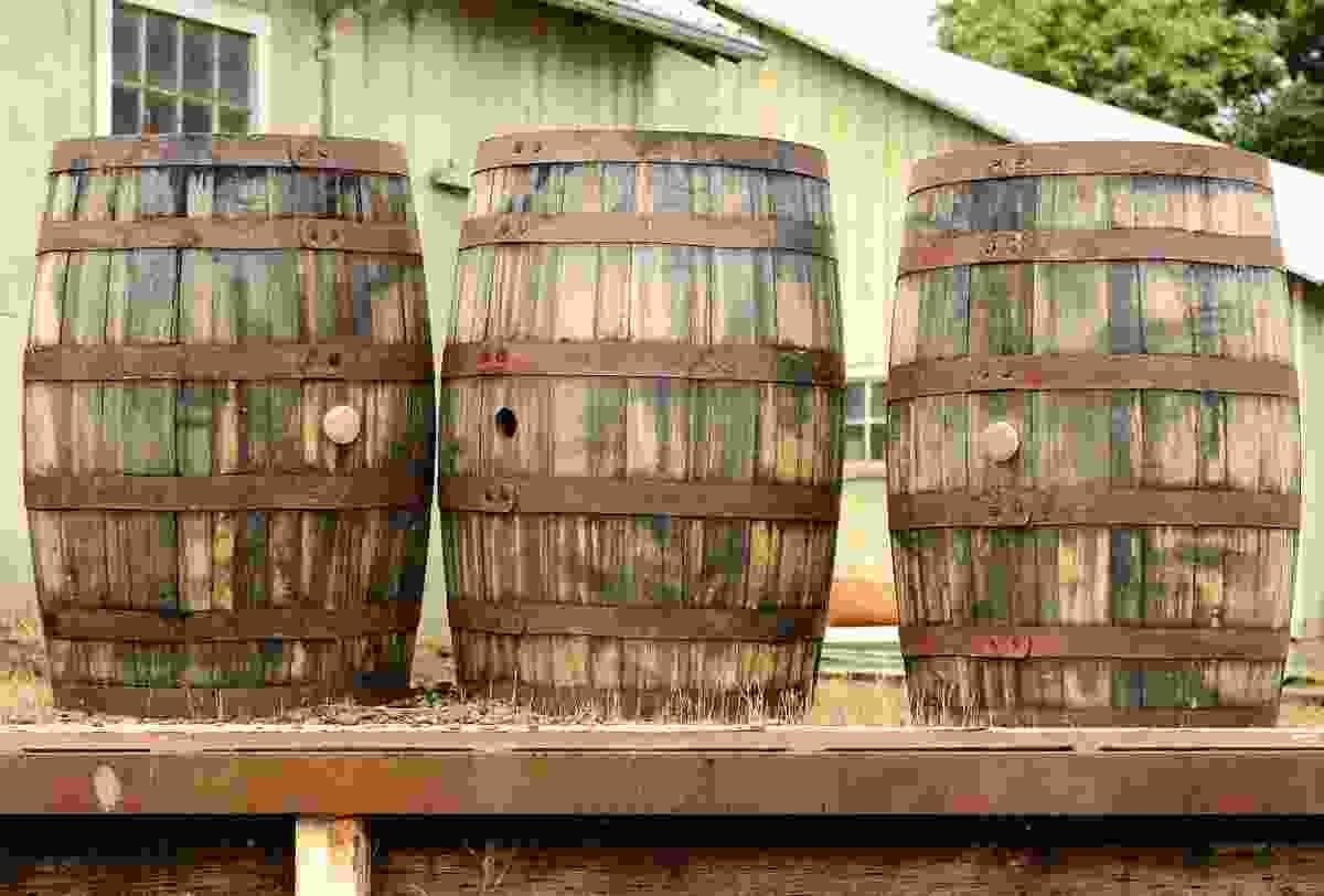 Wine barrels in Portland's Willamette Valley (Dreamstime)