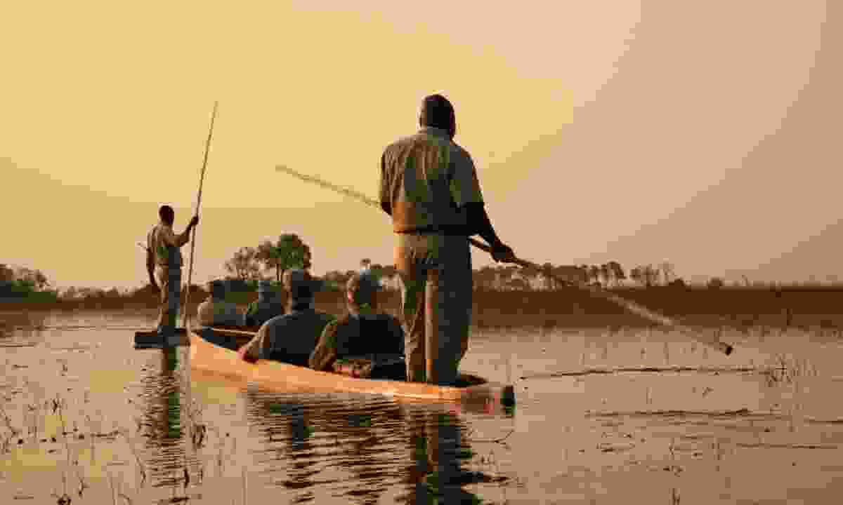 Sailing in traditional mokoro in The Okavango Delta (Shutterstock)