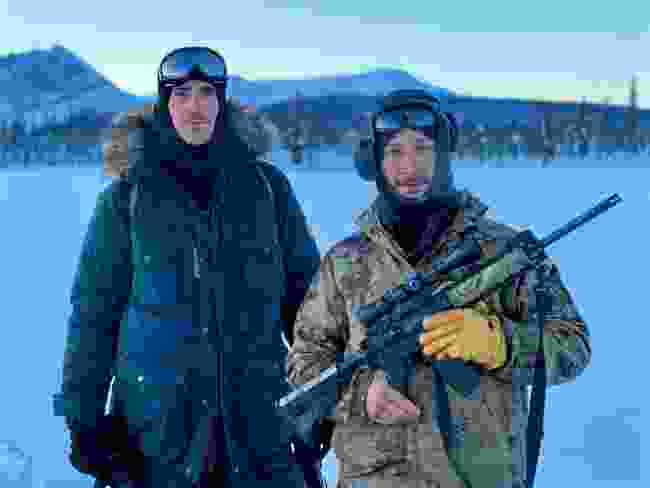 With caribou hunter Charlie Swaney in Arctic Village, Alaska (BBC/Jonathan Young)
