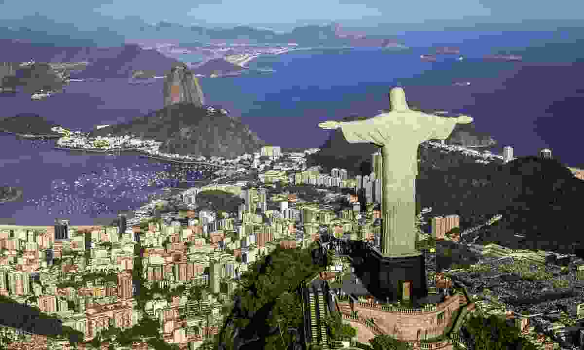 Christ the Redeemer looking towards Guanabara Bay (Dreamstime)