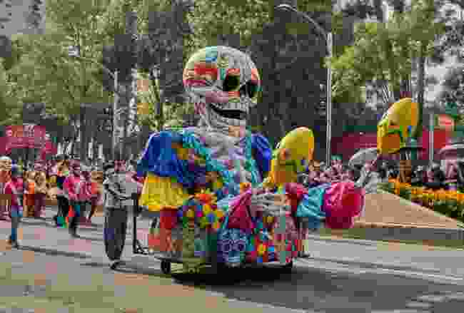 A sugar skull float parading on Day of the Dead (Shutterstock)