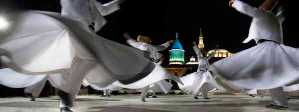 Whirling Dervishes in Konya, Turkey during Rumi Festival (Shutterstock)