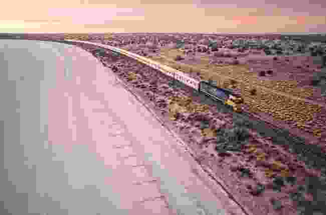 Indian Pacific rolling through Australian outback (Journeys Beyond)