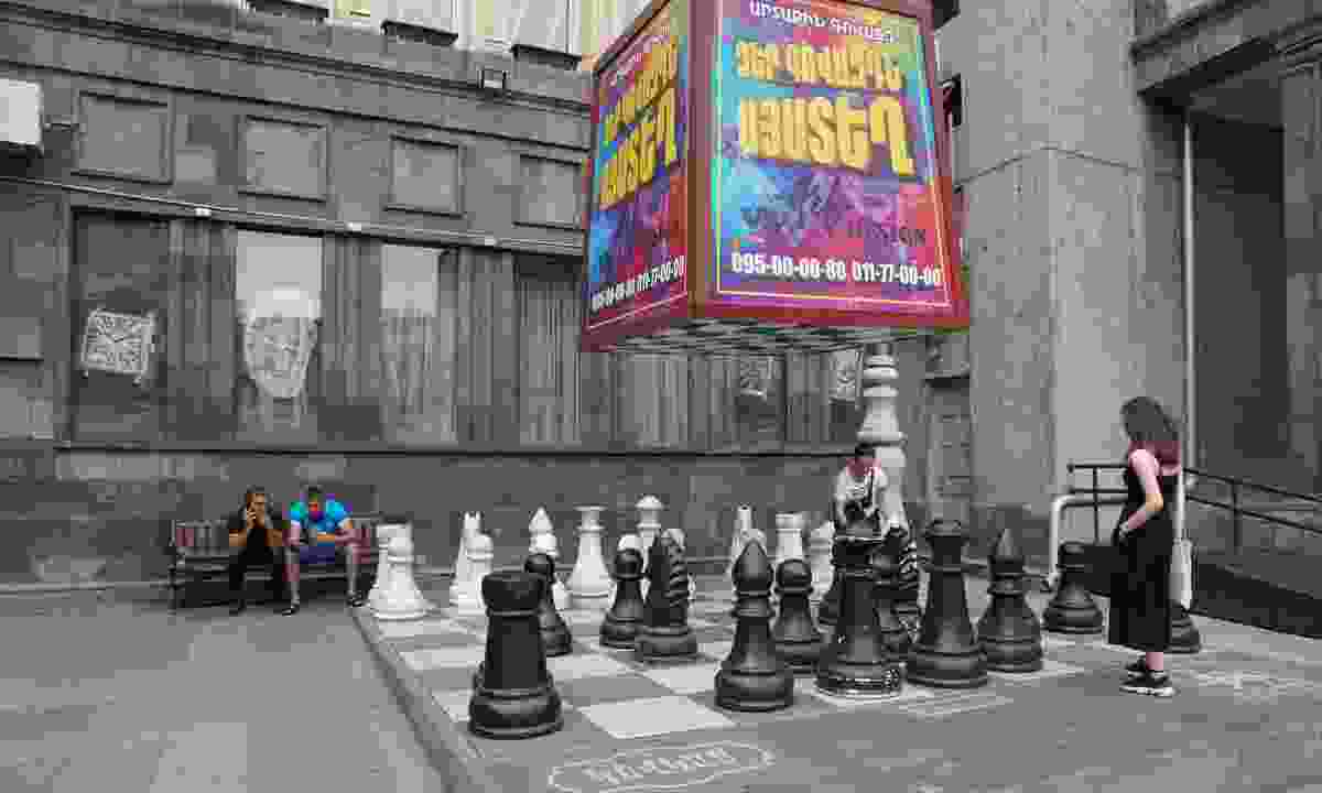 Playing chess in Yerevan (Peter Moore)