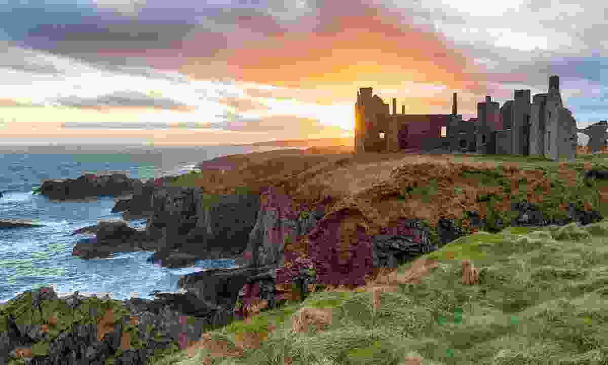 Sunset over New Slains Castle near Peterhead (Shutterstock)