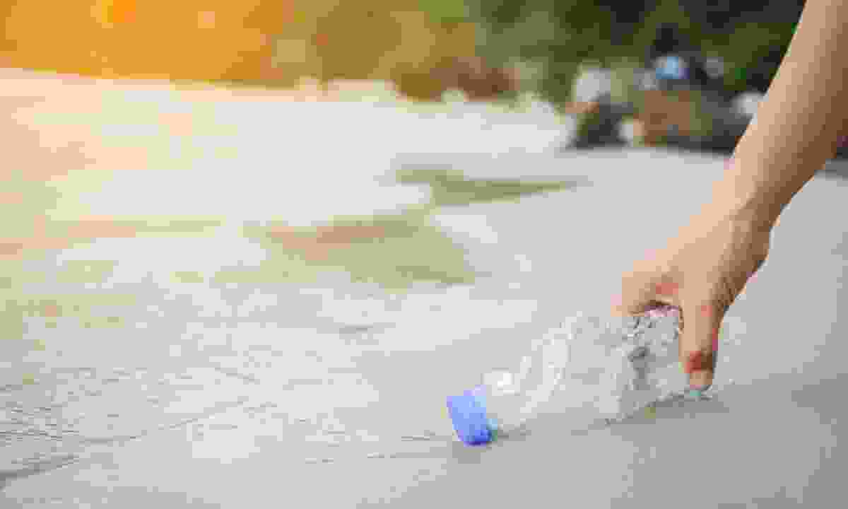 Volunteer picking up a plastic bottle on a beach (Shutterstock)