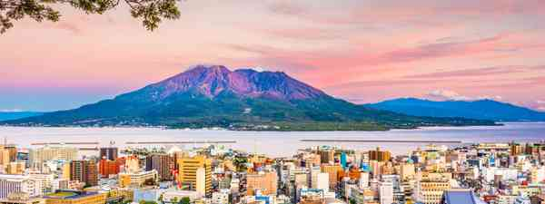 Japan skyline with Sakurajima volcano at dusk (Dreamstime)