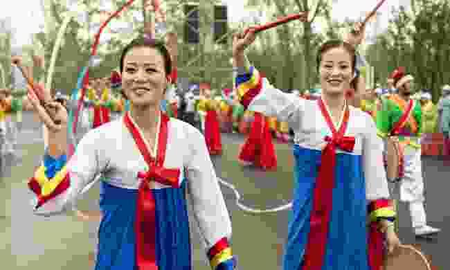 Folk dancers during the celebration of the festival April Spring, Pyongyang, North Korea (Dreamstime)