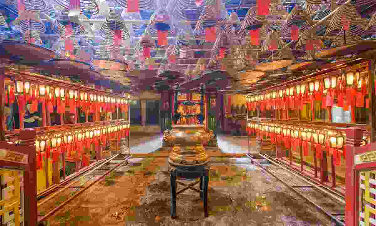 The beautiful interior of Man Mo Temple (Dreamstime)