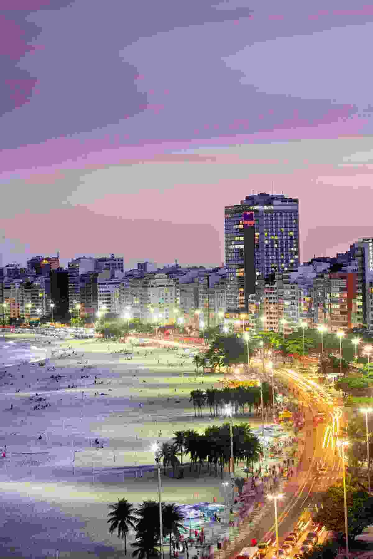 The iconic crescent-shaped shore of Copacabana Beach (Alex Robinson)