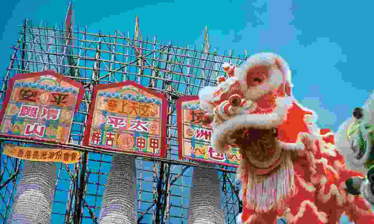 Cheung Chau's famed bun towers, ready for the annual Bun Festival (Hong Kong Tourism Board)