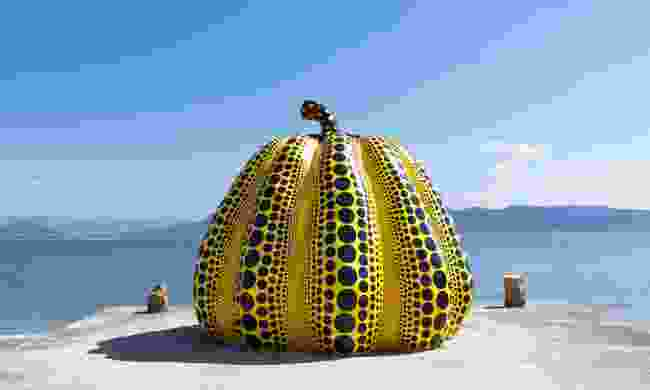 Giant pumpkin sculpture on Naoshima Island (Dreamstime)