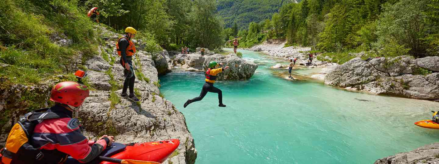 Gorge jumping in Soča Valley (Slovenian Tourist Board)