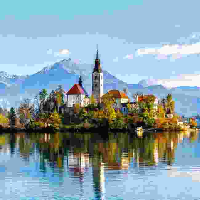 The Pilgrimage Church of the Assumption of Mary sits on an island on Slovenia's Lake Bled (Shutterstock)