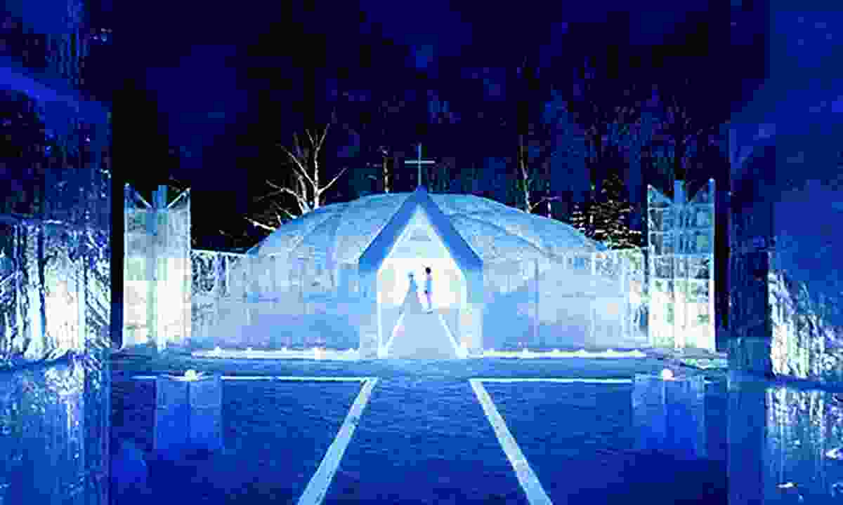 A wedding in the ice church in Japan's Ice Village (Tomamu Resort)