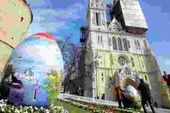 An Easter display in Zagreb, Croatia... sans whipping (Dreamstime)