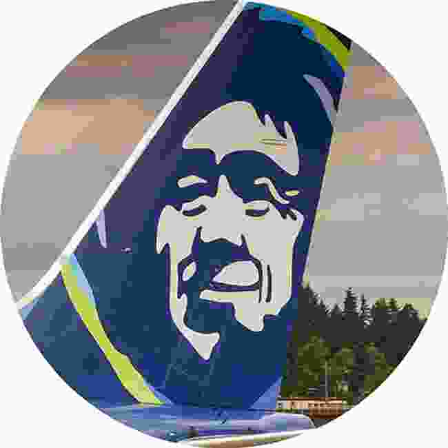 Alaskan Airlines. Alaska's iconic Eskimo first appeared in the early 1970. Everyone north of Barrow claims it was based on their grandfather (Shutterstock)