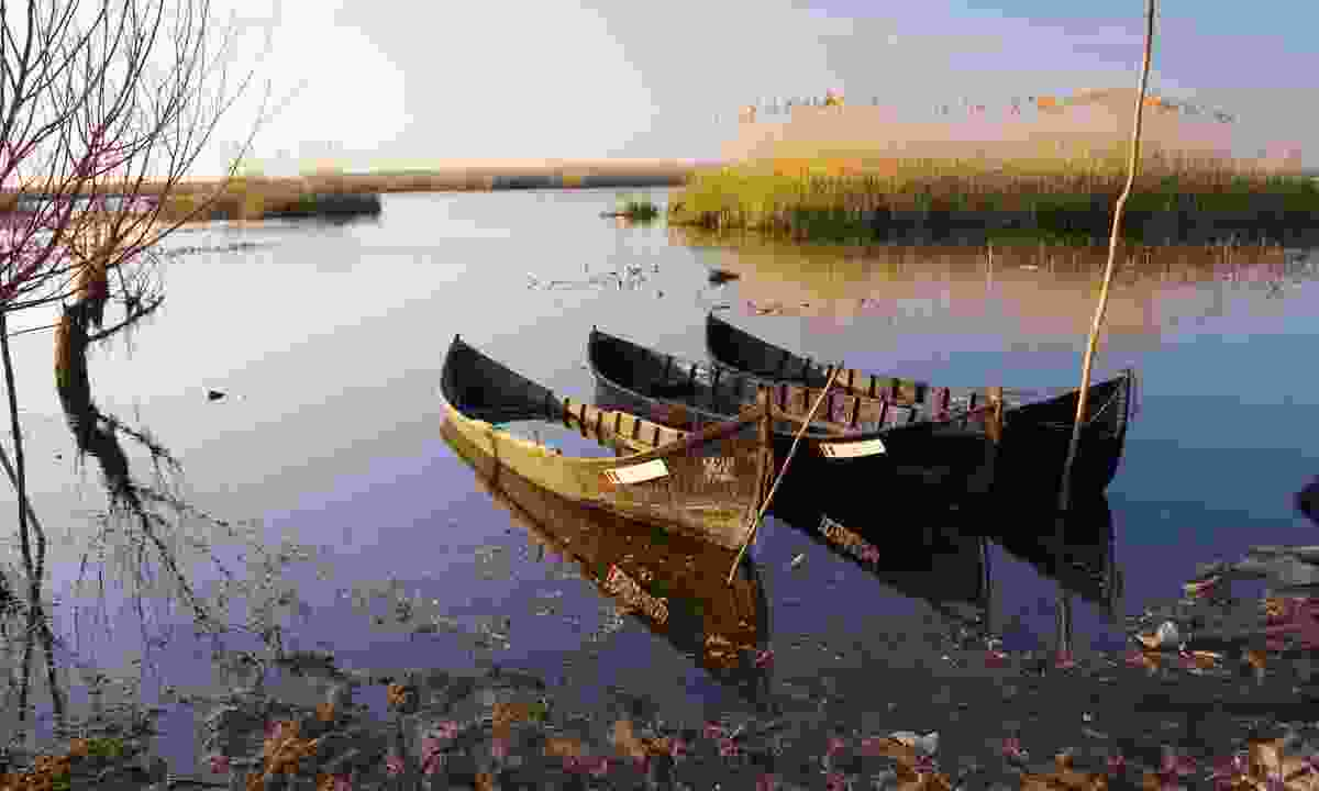 Old boats at Danube Delta at the sunset (Dreamstime)
