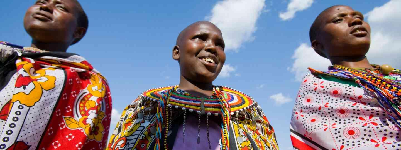 Masai girls wearing kangas (Dreamstime)