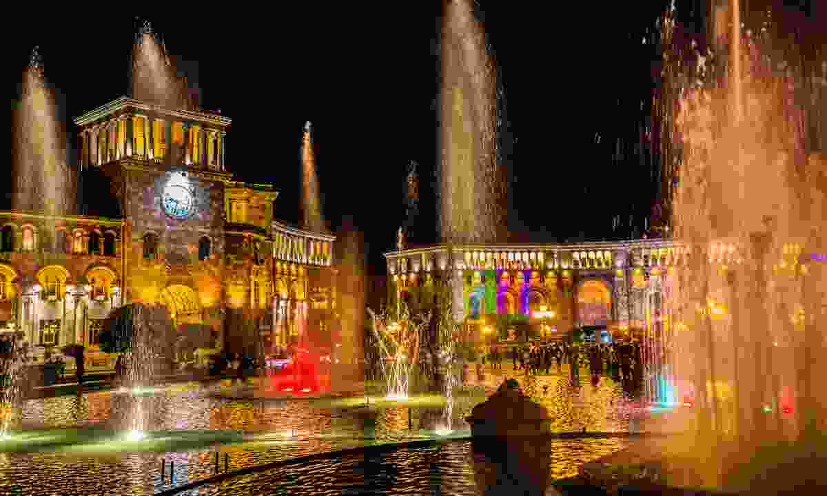 The coloured, singing fountains in Republic Square (Shutterstock)
