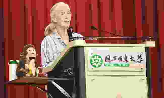 Jane Goodall gives a presentation at Taitung University (Dreamstime)