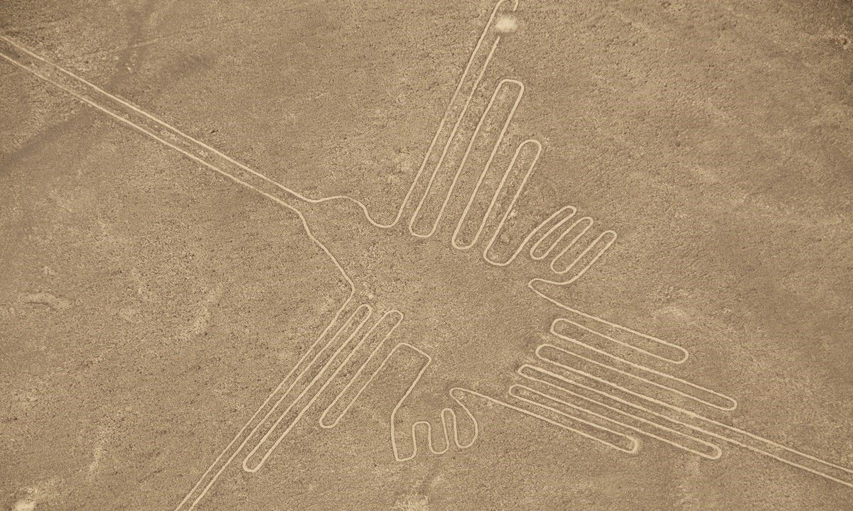 Aerial view of the Hummingbird Geoglyph (Shutterstock)