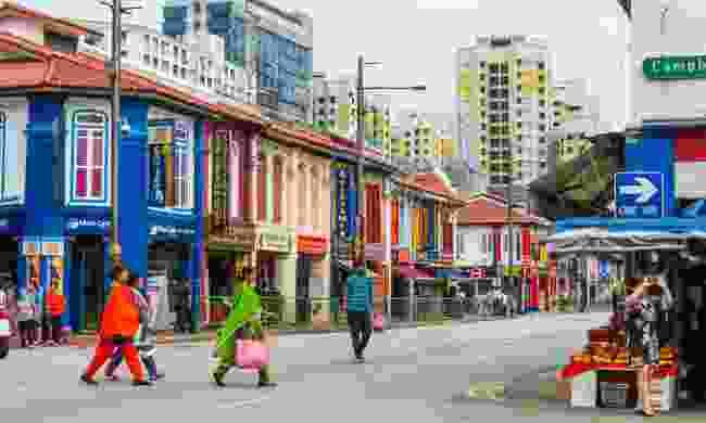Colourful restaurants in Little India (Shutterstock)