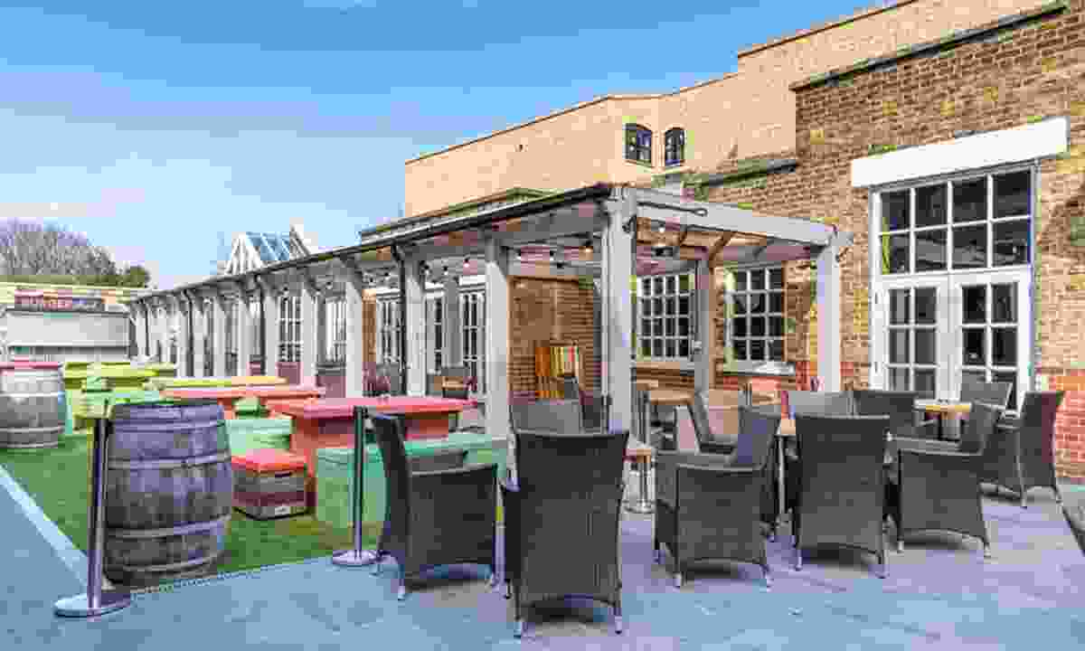 The bright beer garden of The Castle in Tooting (The Castle)