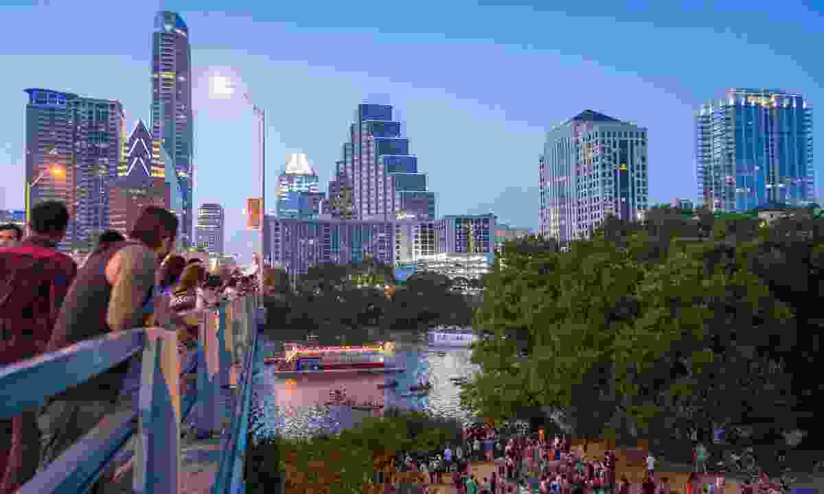 Waiting for bats to emerge from Ann Richards Congress Ave. Bridge (Pierce Ingram/ Visit Austin)