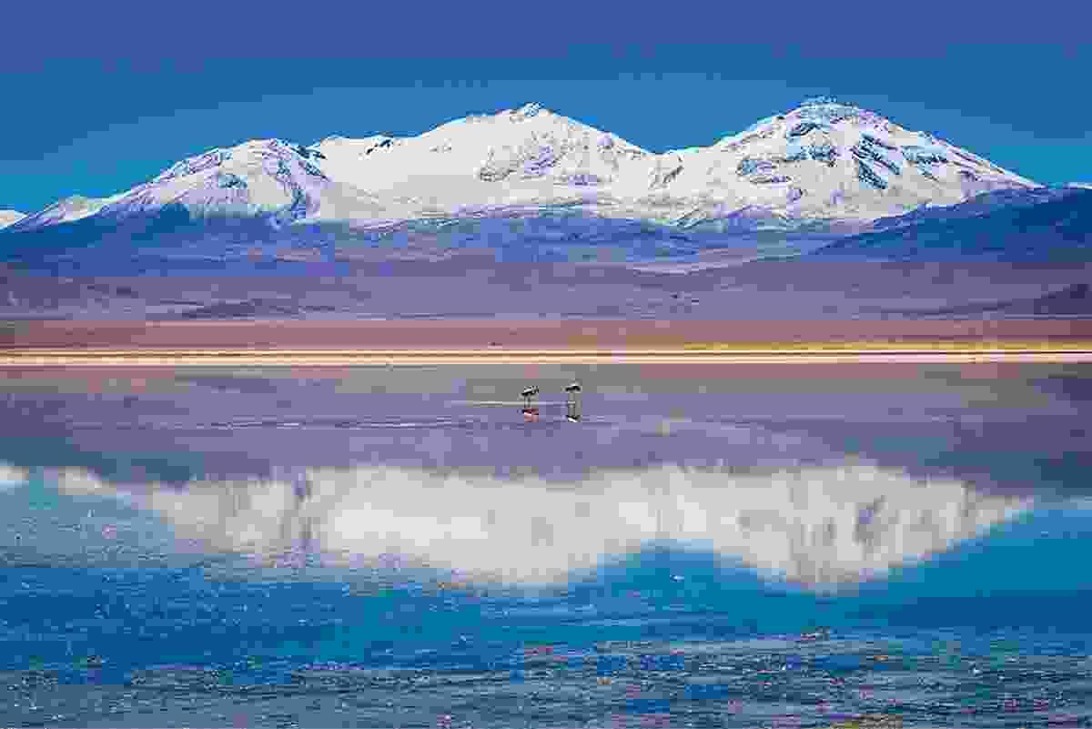 Volcano Tres Cruzes at the Laguna Rosa in the Atacama Desert, (Photo © Adrian Rohnfelder. All rights reserved)